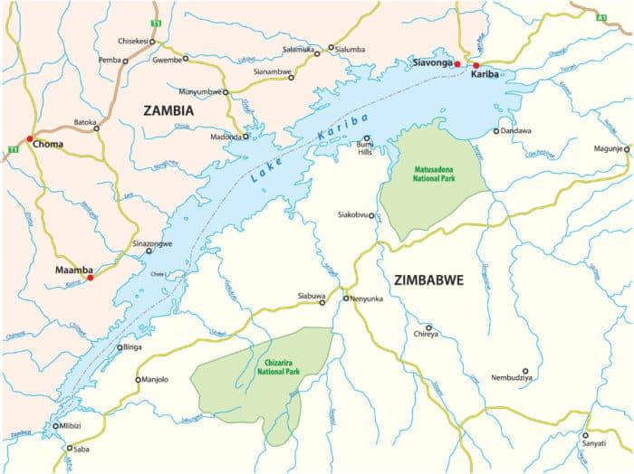 Map of Lake Kariba, bordering Zambia and Zimbabwe