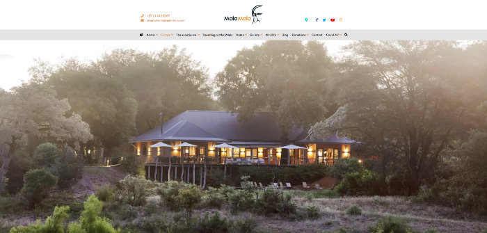 Main camps at MalaMala Game Reserve - official website screenshot