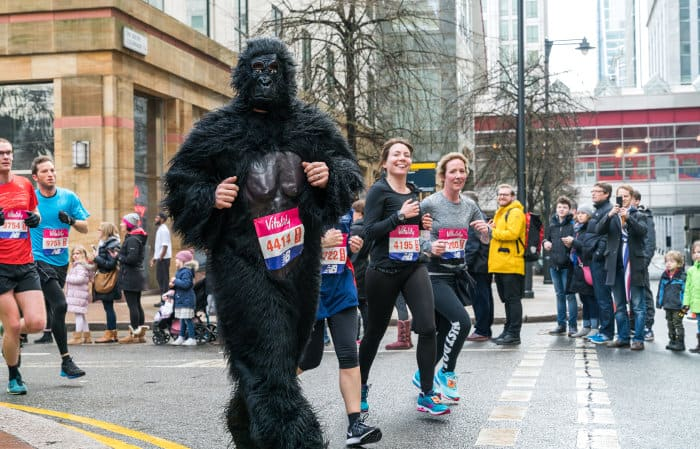 Runner dressed up as a gorilla at a local marathon in London