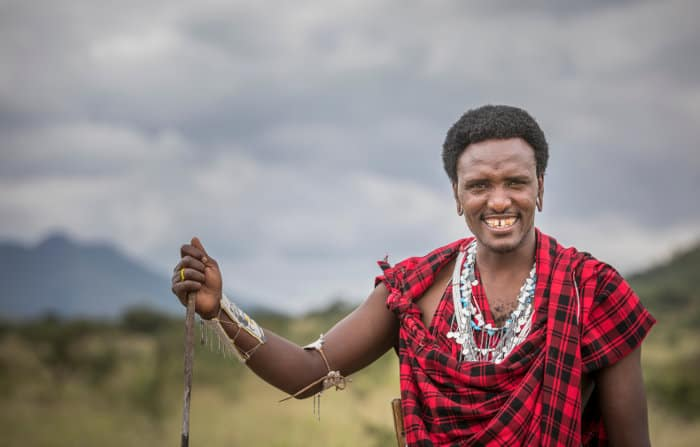 Handsome Maasai warrior in traditional clothing