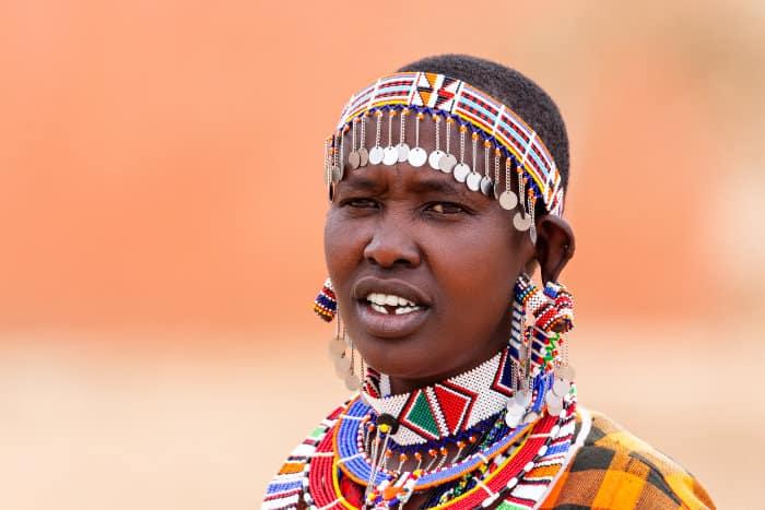 Maasai woman wearing traditional jewellery
