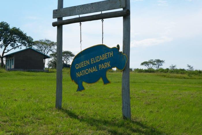 Queen Elizabeth National Park entrance gate sign