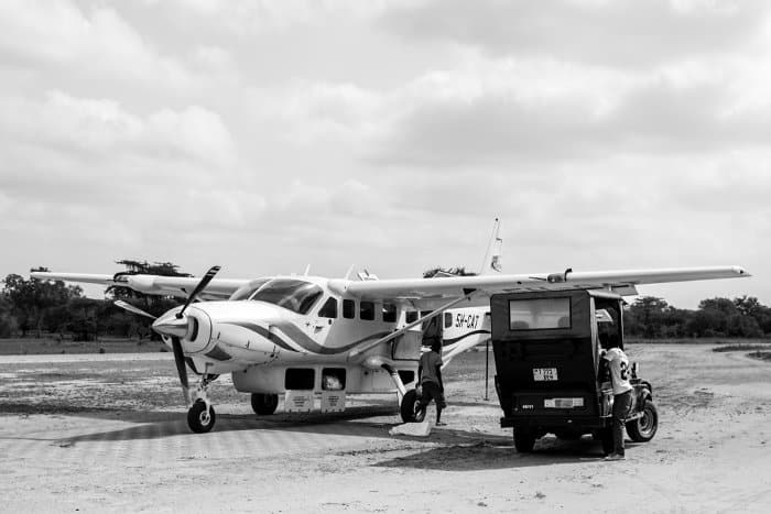 Small tourist plane in the Selous Game Reserve, Tanzania