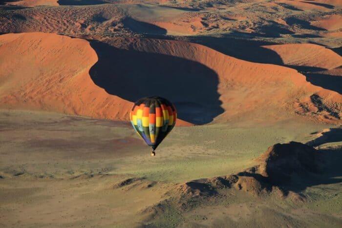 Hot air balloon safari over Sesriem Canyon, Namibia